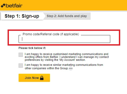 Betfair Promo Code Sign Up Form